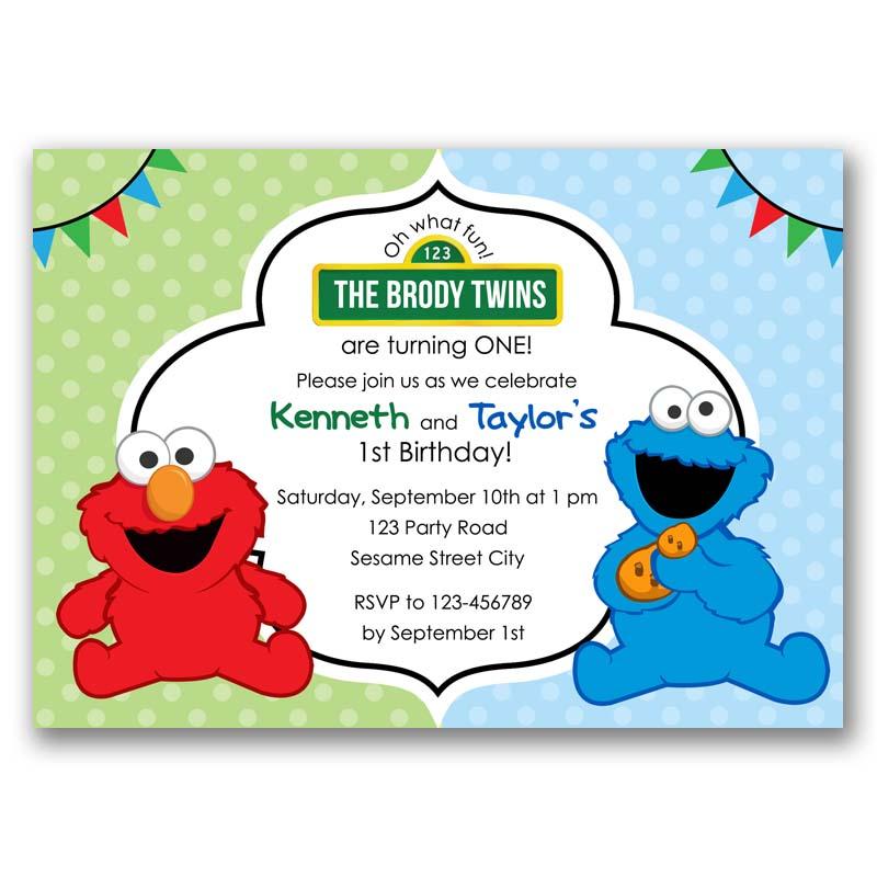 Elmo Cookie Monster Invitation Twins Joint Sesame Street Inspired