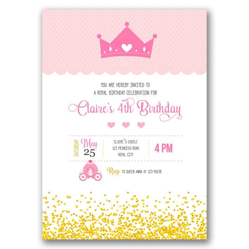 Tiara Birthday Invitation (with Crown And Carriage