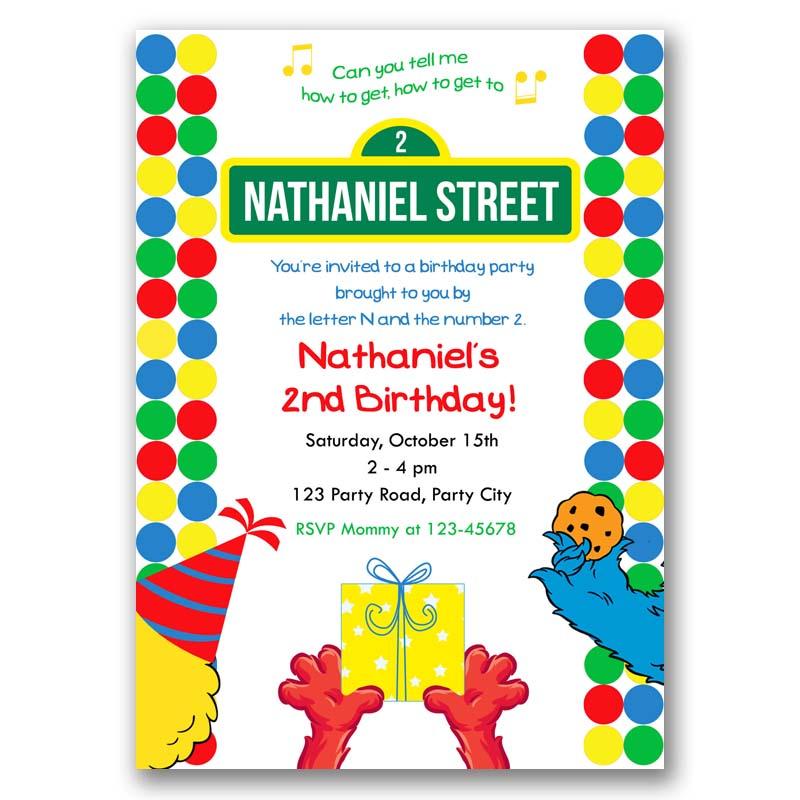 Sesame Street Birthday Invitation Inspired
