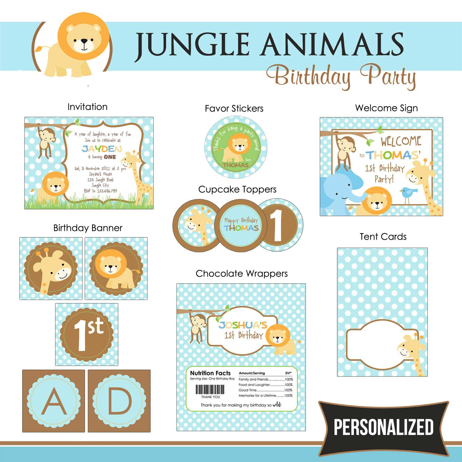 Jungle Animals Birthday Themed Party Package - TweetPaperie